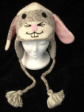 SOCK BUNNY RABBIT HAT knit ski cap ADULT happy animal costume beanie toque LINED