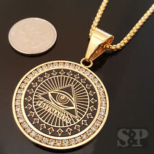 "Gold Stainless Steel FREE MASON Pyramid CZ Pendant 24"" Round Box Chain Necklace"