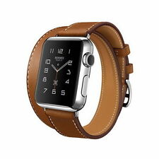 Premium Genuine Leather Double Tour Brown Band Strap For Apple Watch iWatch 38MM