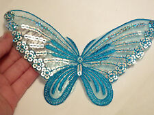 2 large butterfly patches sequin applique patch motif iron on sew on blue UK