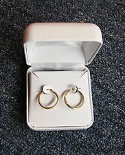 14K Womens Yellow Gold Polished Satin Diamond Cut Hollow Hoop Earrings Gift Box