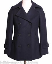 Aquascutum Short FITTED Navy Melton Peacoat Coat Uk8-10 BNWT