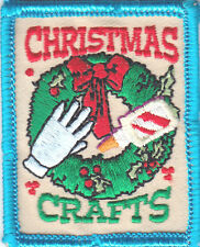 """""""CHRISTMAS CRAFTS"""" PATCH -  IRON ON EMBROIDERED PATCH - HOLIDAYS, HOBBIES, CRAFT"""