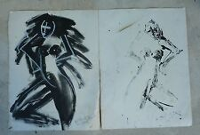 2 NEITH NEVELSON ABSTRACT NUDE PAINTINGS ON PAPER ENTITLED POSTIVE / NEGATIVE