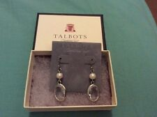 Nwt Talbots Dangle Earrings Silver With Pearl And Clear Crystal