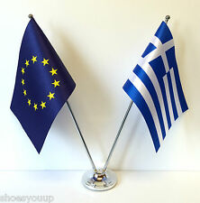 European Union EU & Greece Flags Chrome and Satin Table Desk Flag Set