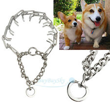 "Adjustable Dog Training Prong Collar Pinch Choke Chain Steel Metal 16""-22"""