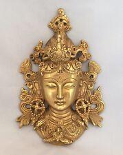 """8.5"""" pesanti Tibetano Buddha Faccia TARA devi testa Muro Appeso in ottone sciamanesimo GOLD"""