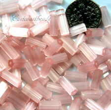30 Pieces 10X4mm, Czech Faceted Atlas Tube Glass Beads  PINK SATIN 30 Pieces
