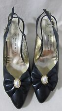 Vtg Bruno Magli Italian Slingback Blue High Heel Women's Shoes
