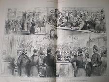 Presunto Feniano cospiratori sotto processo DUBLINO IRLANDA 1883 old print e l'articolo