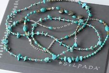 "Silpada NEW Sterling Silver Turquoise Pyrite Howlite 54"" Stones Necklace N3123"