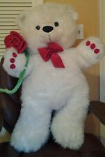 "Large White  Plush Teddy Bear Red Bow Red Rose Green Stem 38"" Valentine's Day"