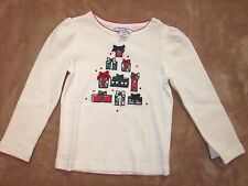 NEW HARTSTRINGS Girls White Christmas Presents Long Sleeves Top Sz 24 Mos