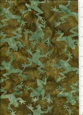 tonga ~ BATIK GREEN FROG ~ fabric retired timeless treasures