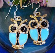 Ohrhänger Eule owl gold farbig neon hell blau emailliert Haken aus Silber 925