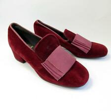 Vintage Ladies Pink Velvet Shoes- Size 3- Madrigal Court Shoe- Made in England