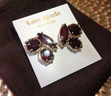 Kate Spade Dark Burgundy Red Gold Cluster Stud Earrings. Valentines Gift Present