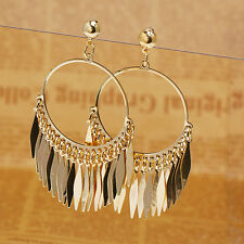 Women's New Fashion Bohemia Big Hoop Tassels Drop Dangle Golden Plated Earrings