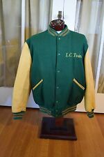 Butwin Varsity Letterman Jacket Wool Leather Green Gold LC Twins Men's L Large