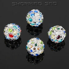 6mm-20mm Pave Crystal Rhinestone Hollow Round Ball Beads Charm Rondelle Spacer