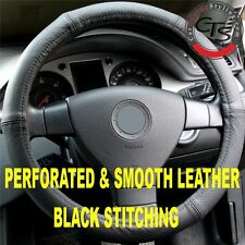 CAR STEERING WHEEL COVER PERFORATED & SMOOTH LEATHER BLACK STITCHING