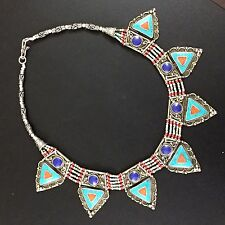 Antique Jewelry 925 Tibetan Silver Plated Turquoise-Coral-Lapis Necklace CH1162