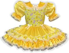 """Blaire"" CUSTOM Fit Yellow Satin Adult Little Girl Sissy Dress LEANNE"