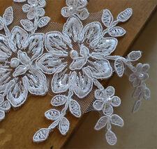Motivo De Boda Con Cuentas Perla de novia de encaje y apliques coser Adorno de 2 piezas de marfil floral