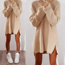 Women Winter Long Sleeve Jumper Top Blouse Loose Knitted Long Mini Sweater Dress