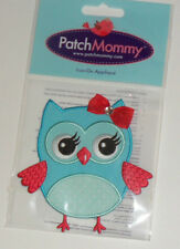 """Blue OWL with RED BOW & CRYSTAL Embroidered iron-on Patch NEW 4"""""""