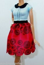 """2016 BARBIE FASHIONISTAS & MODEL MUSE """"RUBY RED FLORAL""""  DOLL COLLARED DRESS"""