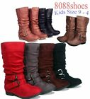 Youth Girl's Kid's Cute Low Heel Zipper Buckle Round Toe Riding Boot size 9 - 4