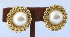 1981 Vintage NEW Clip EARRINGS Goldtone with ROUND PEARL & Bead RIM 5