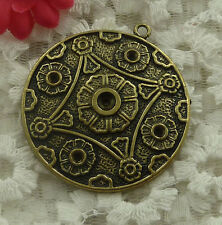 free ship 7 pieces bronze plated flower pendant 48x43mm #2197