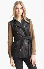 Burberry Brit Crofton Leather Twill Trench Coat Jacket Size 06 EU40 $1795