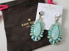 NWT Auth Kate Spade Seaside Sparkle Aqua Stone Teardrop Dangle Earrings $98