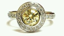1.38ct Fancy Yellow Color SI1 Clarity Diamond Engagement 14k White Gold Ring