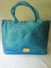 New Juicy Couture Woven PVC X Large Tote/ Beach Bag / Shopper Blue Multi Purpose