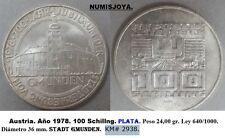 Año 1978. AUSTRIA. 100 Schillng Plata. Peso 24,00 gr. Ley 640/1000. 36 mm.