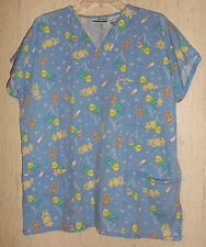 "WOMENS MHD SCRUBS ""IT'S A BOY / IT'S A GIRL"" NOVELTY PRINT SCRUBS TOP   SIZE M"