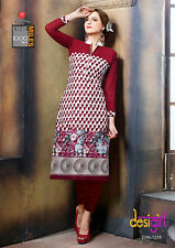 Printed Cotton Kurti Multi Color Casual Wear with Georgette Sleeves