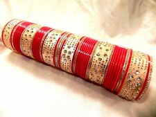 INDIAN TRADITIONAL CZ  RED WEDDING DESIGN BRIDAL CHURA SET BANGLE CHURI 2.6 512