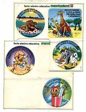 5 Adesivi MENTADENT Giraffa elefante Serie educative sticker Pubblicità PROMO