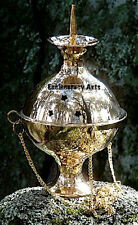 "Brass Hanging Censer Burner, Incense, Resin, Cones, Charcoal, 4"" Inch New {:-)"