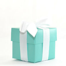 60 LUXURY LINED BLUE TIFFANY SQUARE WEDDING FAVOUR GIFT BOX & LID *Free P&P*