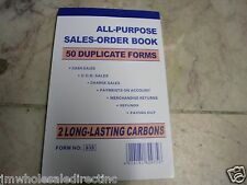 "New! All Purpose Carbonless Sales Invoice Book  50 Forms 2 Parts 6 1/2"" X 4 1/4"""
