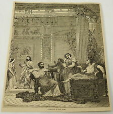 1881 magazine engraving ~ MEN AND WOMEN LOUNGE in a saloon ~ OLD ROME, Italy