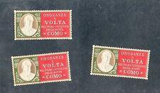 ERINNOFILO ONORANZE ALESSANDRO VOLTA Primo centenario morte Como 1927 lotto