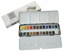 Winsor & Newton Artists Water Colour Half Pans Light Weight Metal Box